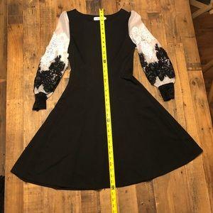 Dresses - Black & white lace lace sleeve A Line dress.